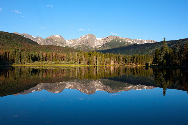斯普拉格湖,洛矶山脉,水平画幅,雪,无人,早晨,夏天,户外,奥蒂斯,湖