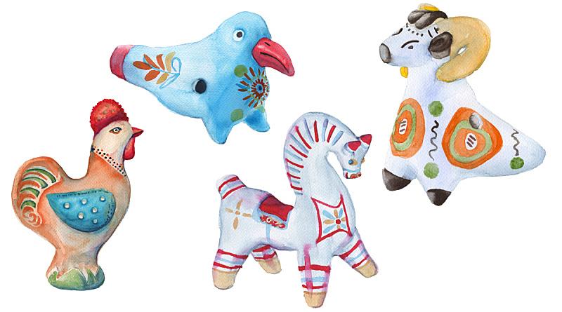 玩具,粘土,白色背景,分离着色,土器,华丽的,水彩画颜料,背景分离,家庭,古董