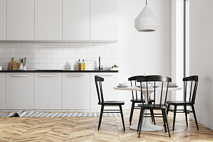 厨房,白色,饭厅,新的,水平画幅,别墅,无人,椅子,家庭生活,家具