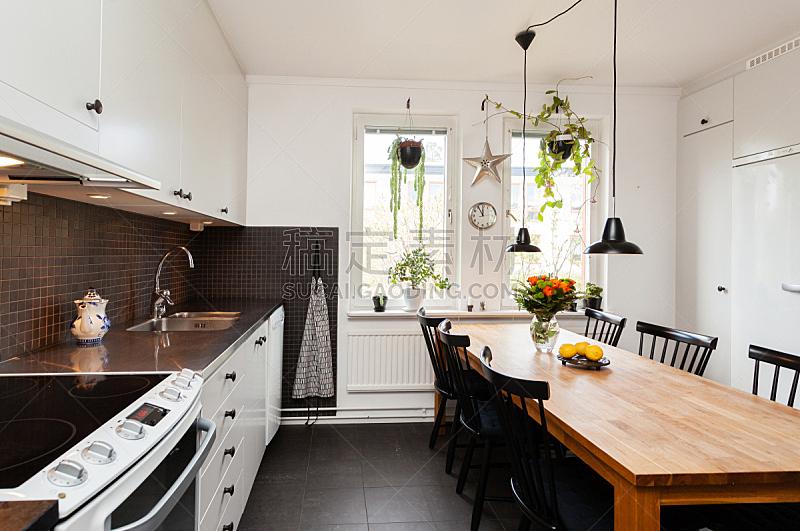室内,高雅,厨房,窗户,住宅房间,桌子,水平画幅,无人,椅子,瓷砖