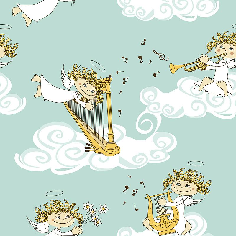 四方连续纹样,天使,乐队,七弦琴,竖琴,丘比特,管弦乐队,情人节卡,复古风格,古董