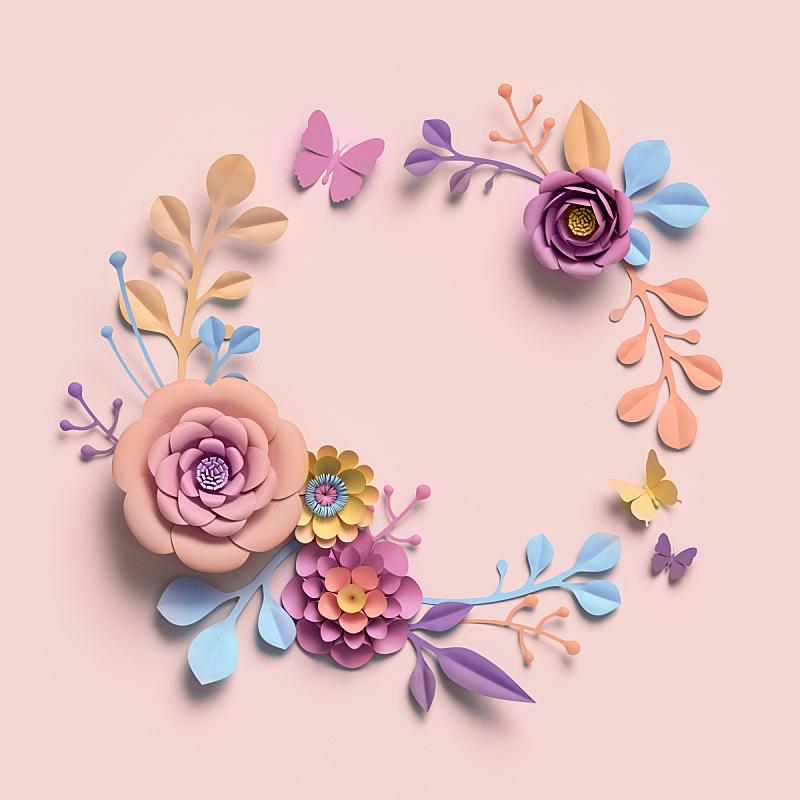贺卡,植物学,圆形,分离着色,背景,花环,空白的,调色板,剪贴画,三维图形