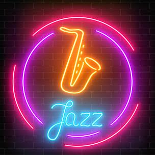 萨克斯,背景,边框,爵士乐,霓虹灯,标志,圆形,黑色,枉费心机,发光
