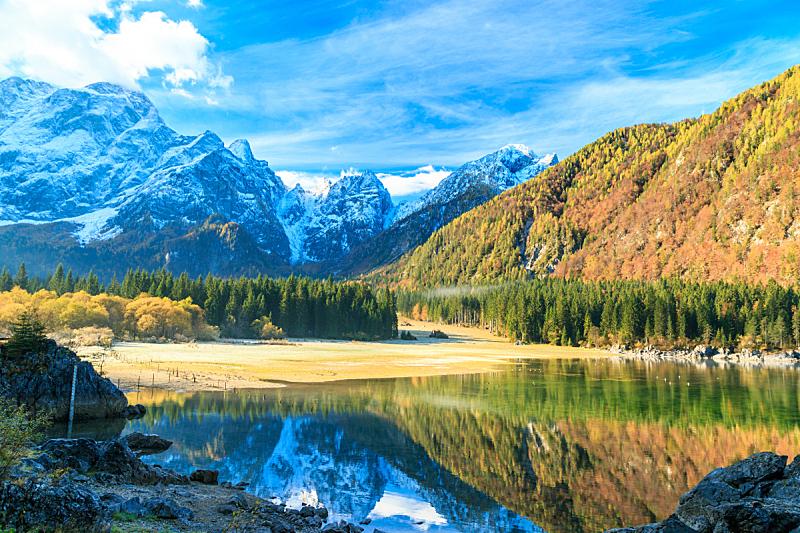 早晨,阿尔卑斯山脉,秋天,美,公园,水平画幅,雪,无人,夏天,户外
