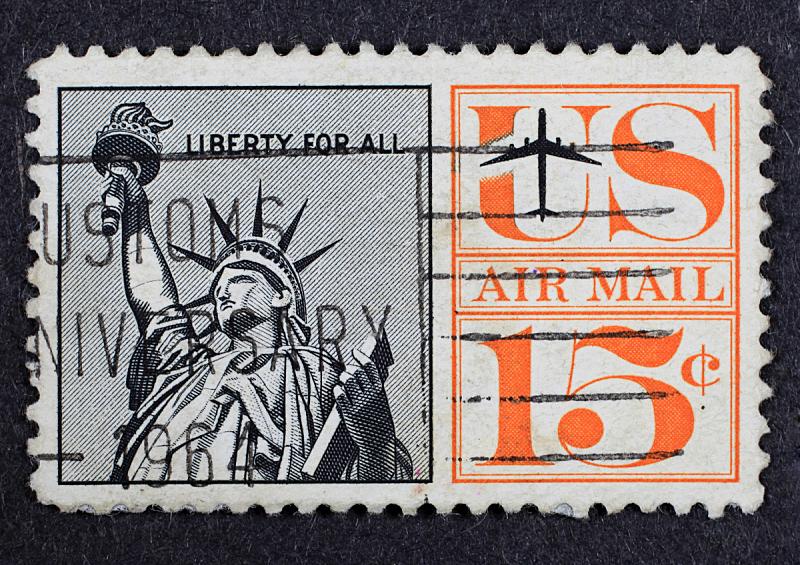 自由女神像,邮票,全部,数字15,航空邮件,邮戳,美国,旅游目的地,水平画幅,无人