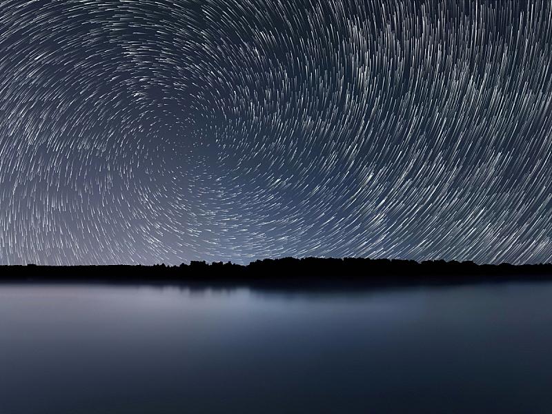 星迹,夜晚,蓝色,自然美,北极星,流星,银河系,水,天空,星系