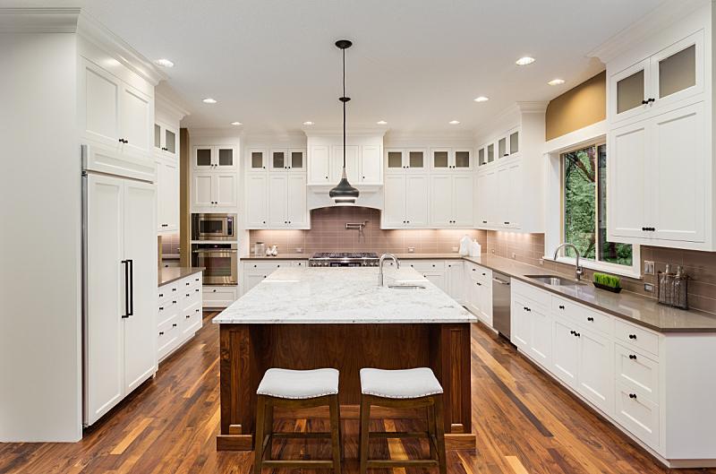 住宅内部,华贵,厨房,自然美,褐色,新的,水平画幅,无人,巨大的,家具