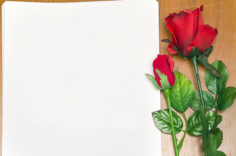 文档,玫瑰,红色,空白的,留白,礼物,水平画幅,纸,情人节,叠