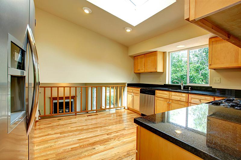 窗户,住宅房间,天花板,厨房,宽的,水平画幅,无人,豪宅,房地产,冰箱