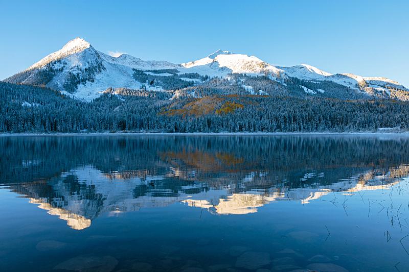 洛矶山脉,风景,科罗拉多州,秋天,自然美,科罗拉多河,天空,阿斯彭,水平画幅,高视角