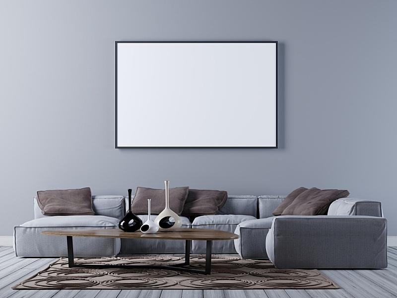 沙发,现代,起居室,空白的,正下方视角,轻蔑的,角度,空的,边框