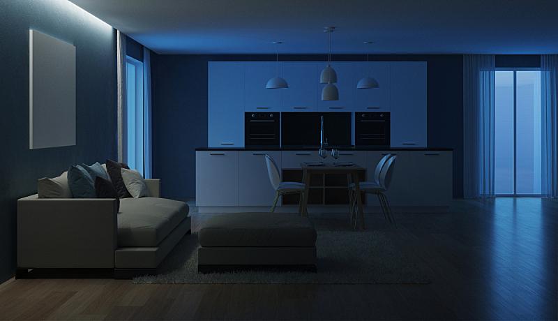 现代,三维图形,房屋,室内,夜晚,抽油烟机,窗帘,舒服,地板,炊具