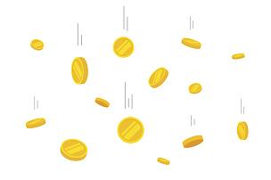 黄金,矢量,平坦的,背景,比特币,存钱罐,雨,储蓄,美元符号,档案
