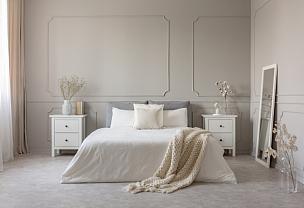灰色,白色,室内,桌子,卧室,友谊,华贵,舒服,软垫,床单