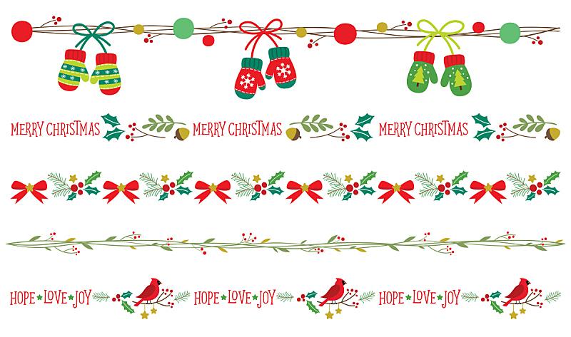 Seamless Christmas Borders Vector