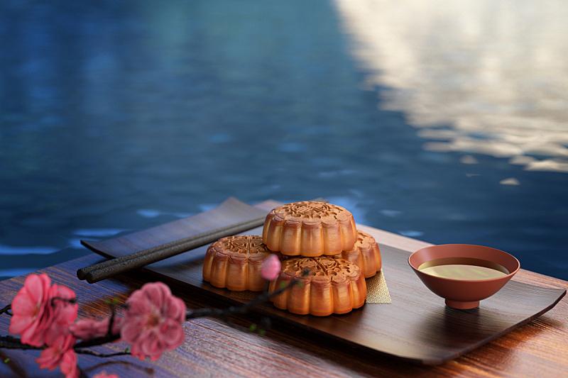 月饼,三维图形,中秋节,传统节日,亚洲,红色背景,水平画幅,夜晚,无人,月亮