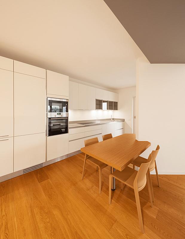 现代,公寓,室内,厨房,垂直画幅,美,新的,无人,椅子,干净