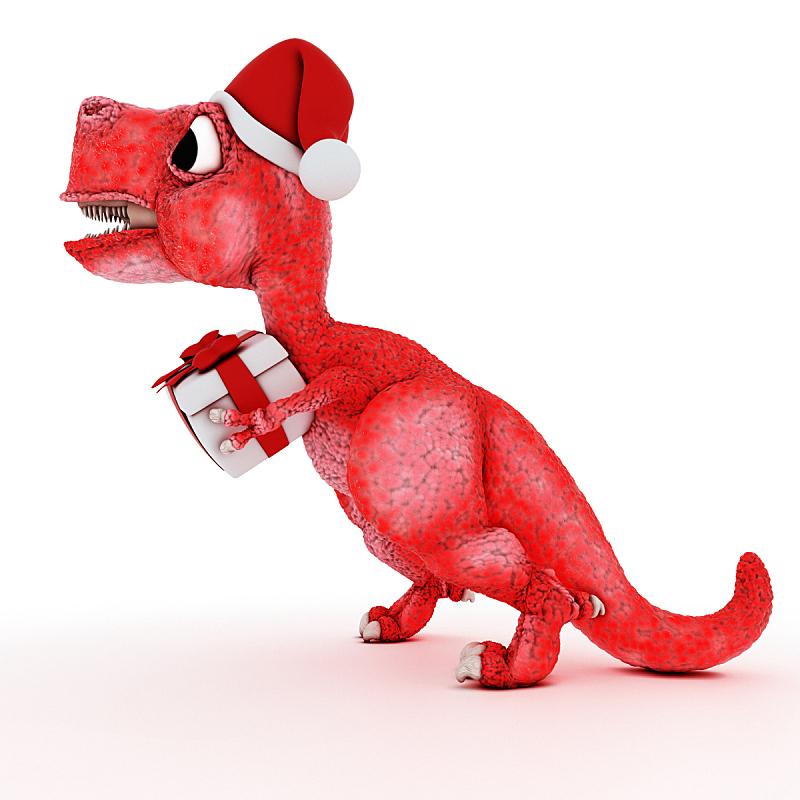 恐龙,卡通,圣诞礼物,快乐,礼物,侏罗纪,史前时代,圣诞帽,蝴蝶结