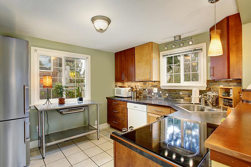 砖地,绿色,墙,白色,简单,厨房,住宅房间,水平画幅,建筑,无人