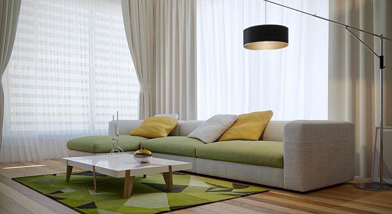 起居室,极简构图,室内设计师,百叶帘,窗帘,灯,复式楼,清新,沙发,现代