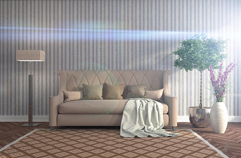 沙发,室内,三维图形,绘画插图,褐色,座位,水平画幅,无人,装饰物,家具