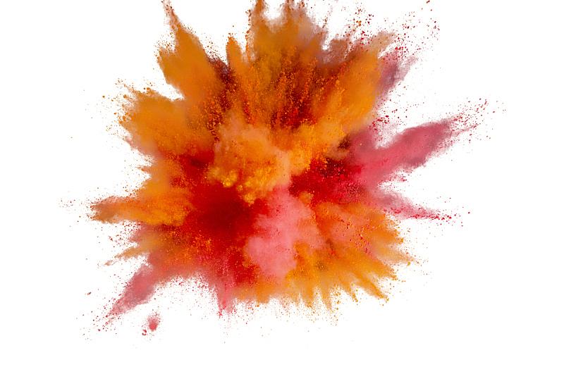 多色的,抽象,特写,灰尘,涂料,胡里节,背景幕,白色背景,有色粉末