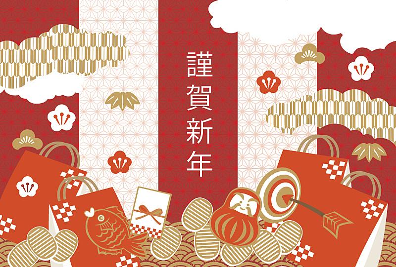 绘画插图,欧洲赤松,新年,日本,春节,和服,新年前夕,2017年,背景,仅一朵花