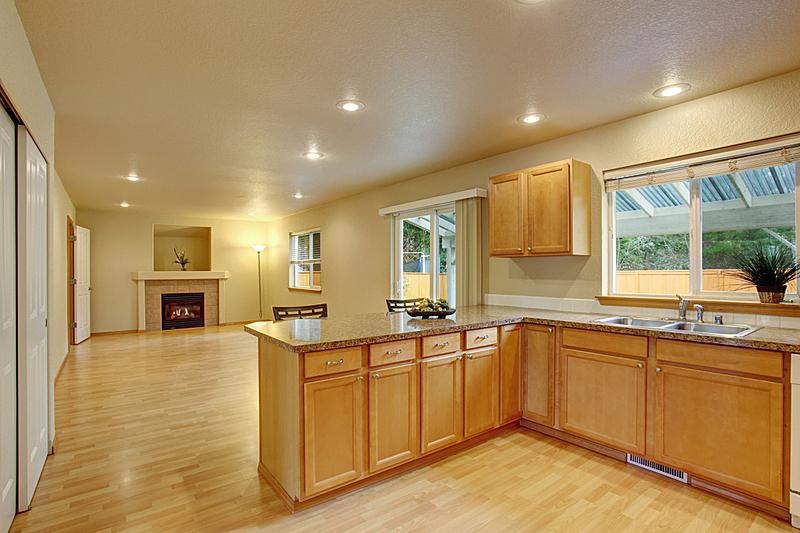 灶台,厨房,木制,现代,简单,银色,巨大的,水平画幅,无人,天花板