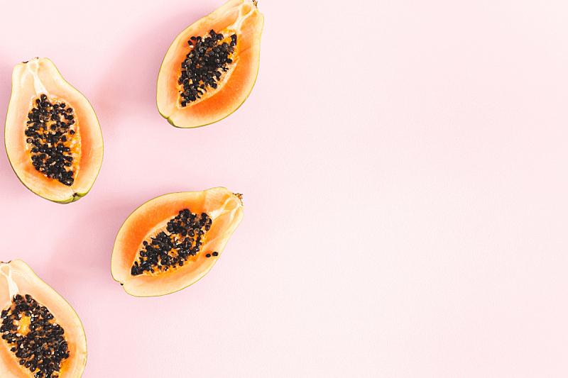 概念,夏天,粉色背景,木瓜,平铺,在上面,浆果,风景,留白,正上方视角