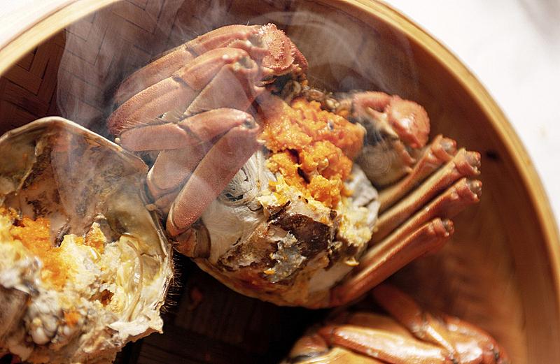 上海,螃蟹,蒸汽,海产,中国食品,饮食,水平画幅,食品,摄影,烹调