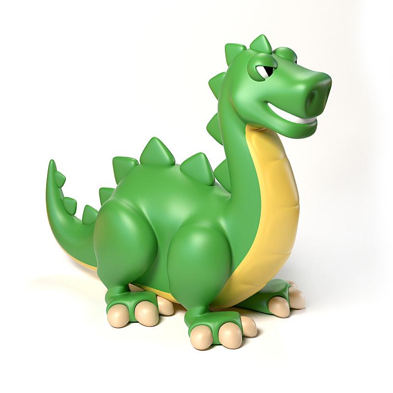 绘画插图,恐龙,三维图形,绿色,白色背景,玩具,分离着色,进行中,鸟类,蜥蜴