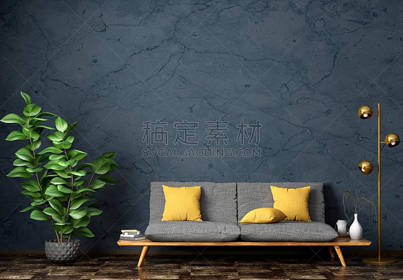 沙发,三维图形,起居室,室内,纺织品,华贵,灰色,软垫,地板,现代