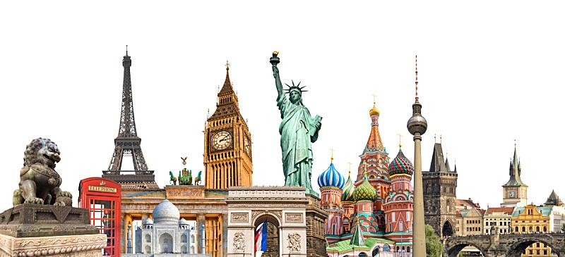 国际著名景点,旅游目的地,地球形,概念,白色背景,分离着色,旅行,旅游,学习,摄影