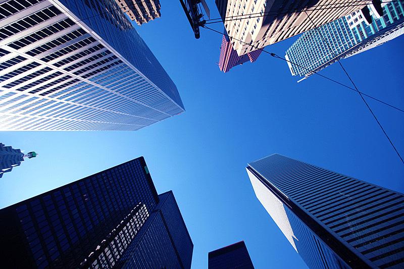银行,商务,正下方视角,多伦多,天空,水平画幅,无人,户外,顶部,现代