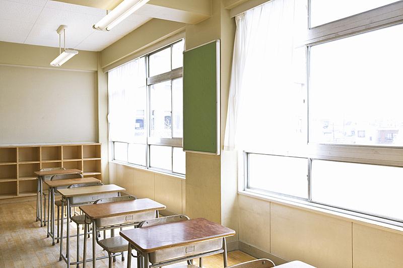 教室,窗户,校园,水平画幅,无人,椅子,日本,早晨,光,知识