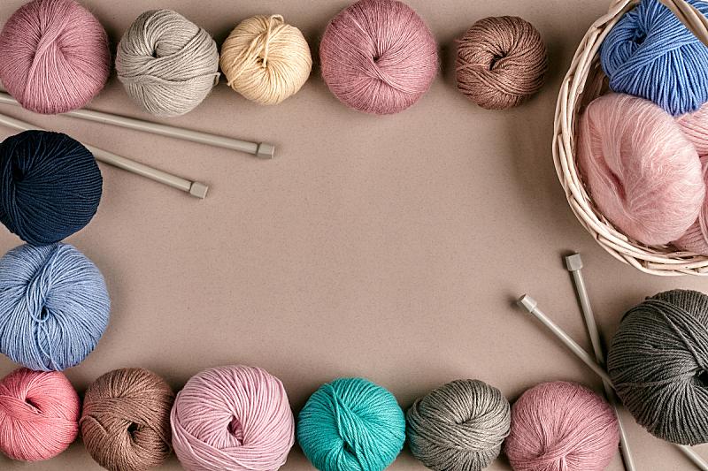 线,缠结的,羊毛,多色的,视角,边框,米色背景,编织,布置,上装