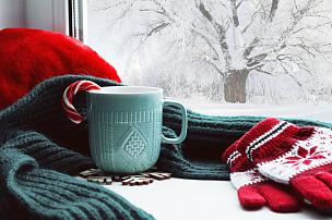 甘蔗糖,冬天,杯,手套,围巾,背景,新的,窗台,雪,家庭生活