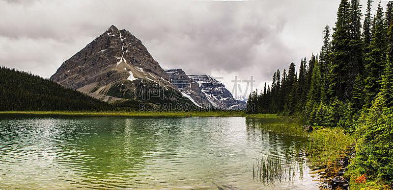 徒步旅行,小路,贝格湖,罗伯逊山,罗布森山省立公园,洛矶山脉,水平画幅,瀑布,无人,夏天