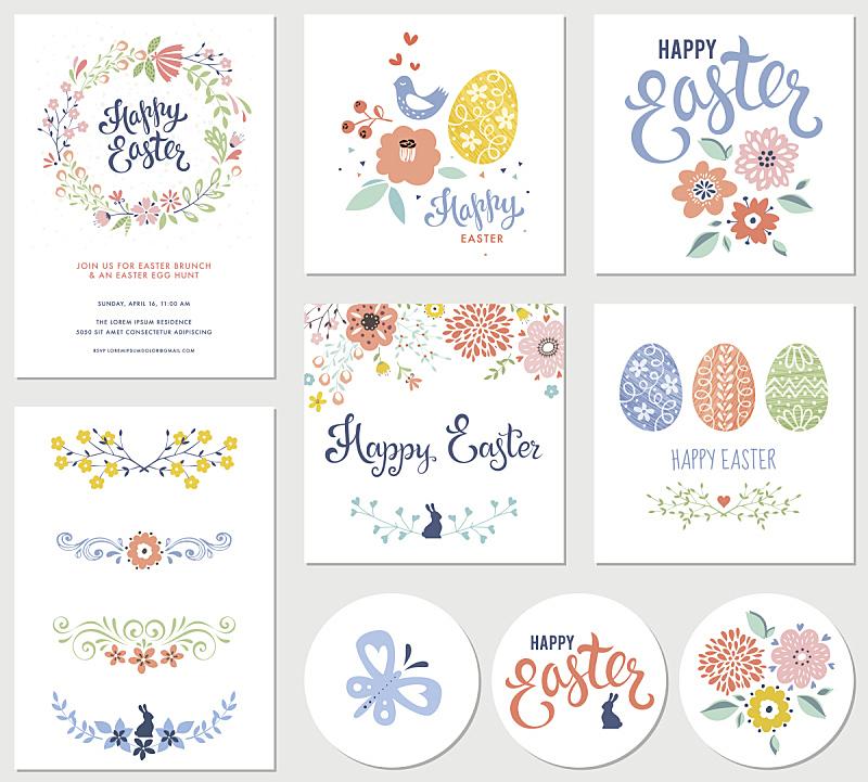 复活节,花纹,柔和色,野花,兔子,花卉花环,请柬,春天,女性特质,花环