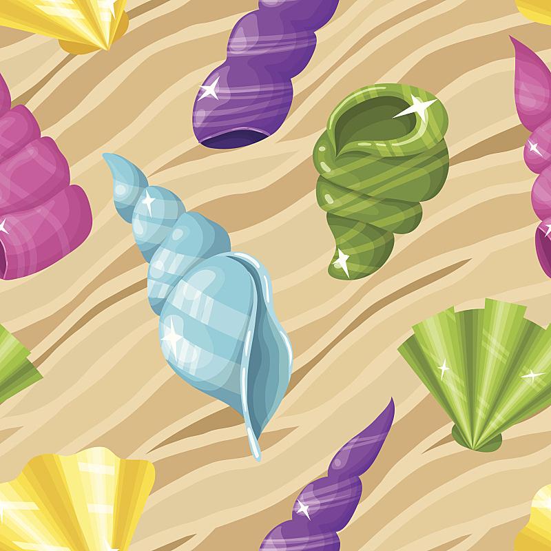 贝壳,背景,艺术,绘画插图,水下,古典式,夏天,四方连续纹样,海滩,热带气候