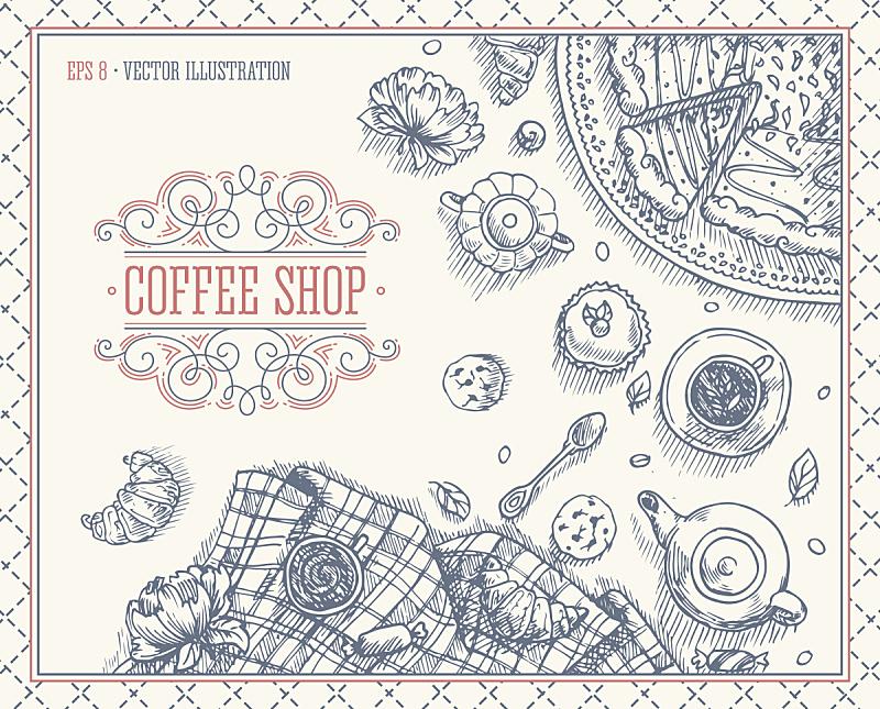 绘画插图,矢量,咖啡馆,桌子,抽陀螺,褐色,无人,符号,蛋糕,早晨