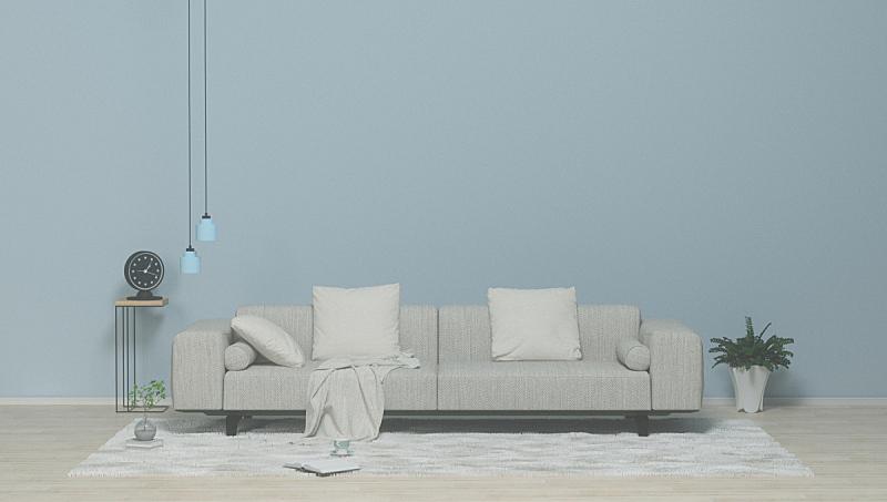 起居室,沙发,三维图形,极简构图,无人,室内,枕头,墙,艺术品,轻蔑的
