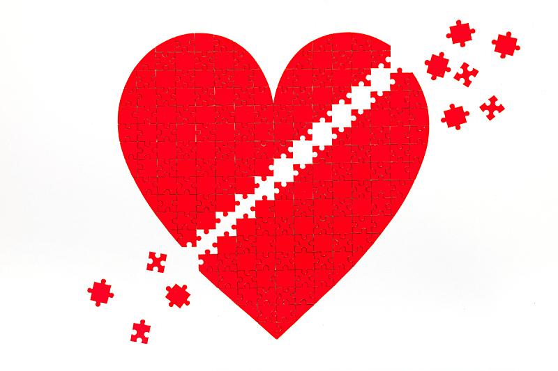 情人节,心型,谜题游戏,背景幕,两个物体,切片食物,想法,七巧板,白色,商务