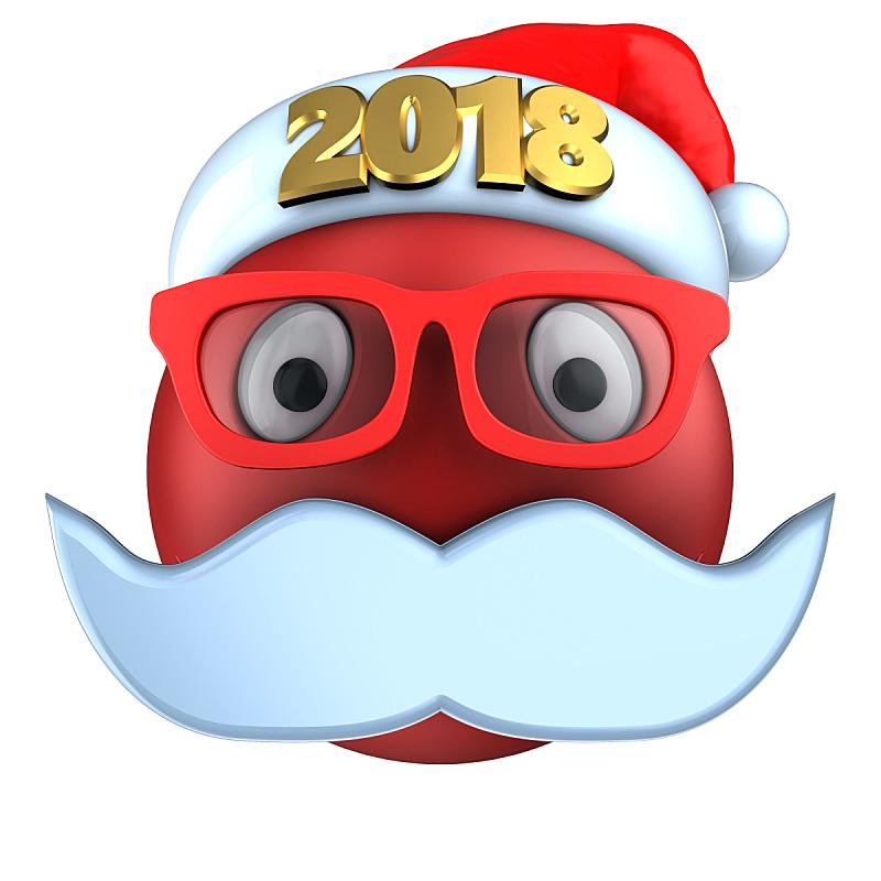 表情符号,红色,2018,帽子,三维图形,圣诞帽,在线聊天,络腮胡子,无人