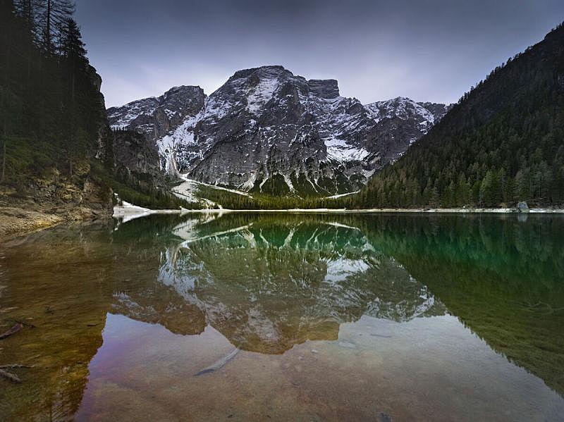 多洛米蒂山脉,意大利,苏打,布雷湖,船库,栈桥码头,梯子,水,水平画幅,无人