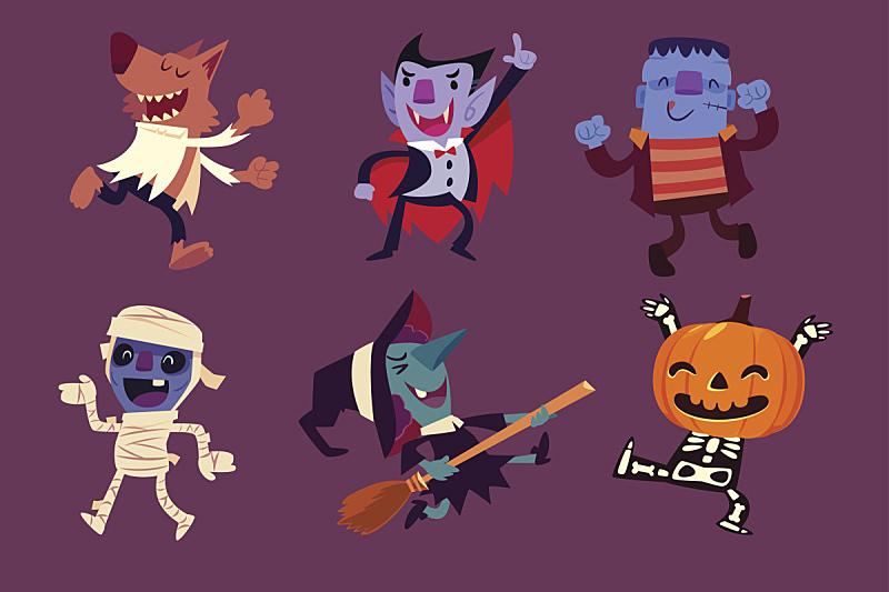 性格,舞蹈,人类骨架,水平画幅,绘画插图,南瓜,卡通,十月,怪物