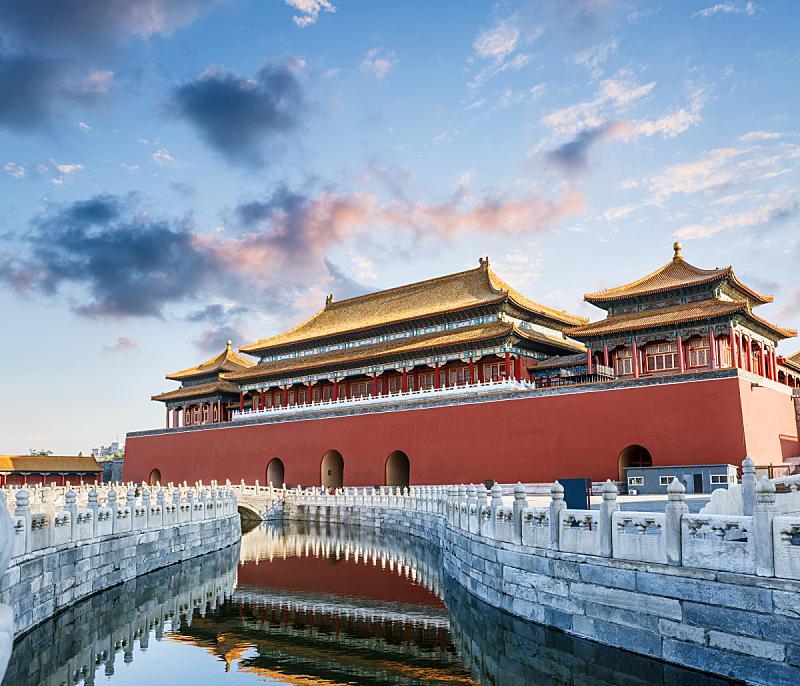 故宫,北京,过去,宫殿,亭台楼阁,水,水平画幅,天空,古老的,园艺展览