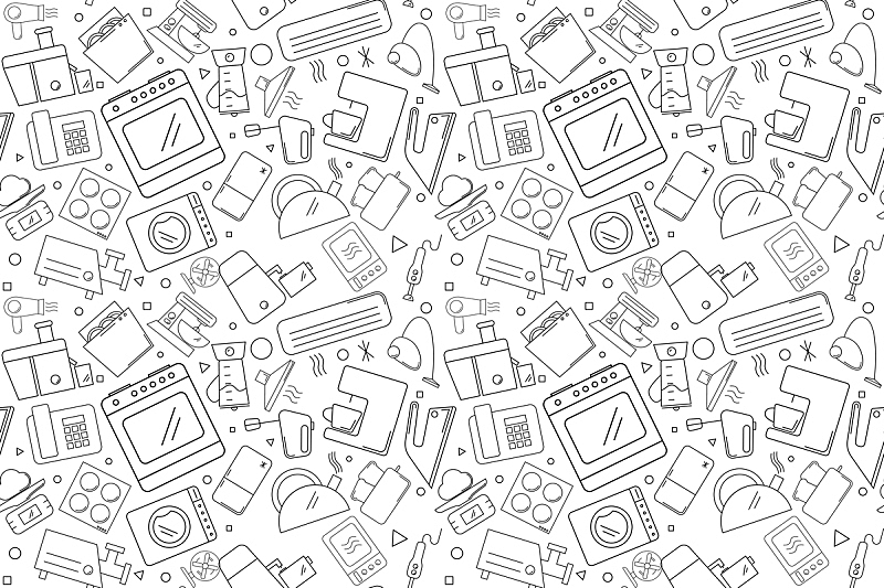 矢量,背景,用具,式样,电动搅拌器,绘画插图,家庭生活,白色,技术,熨斗
