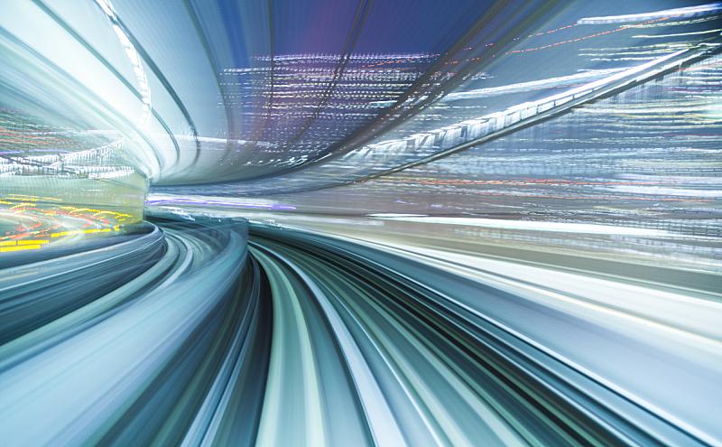 夜晚,照明设备,未来,单轨电车,通勤者,水平画幅,铁轨轨道,透视图,地铁,交通方式