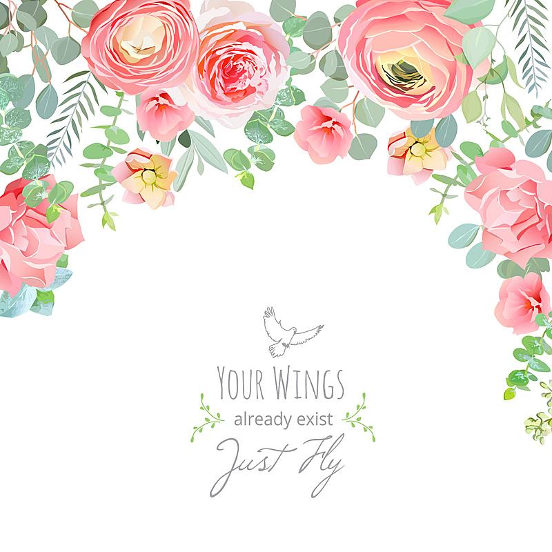 贺卡,康乃馨,粉色,玫瑰,桃,毛莨属植物,枝繁叶茂,绘画插图,古典式,夏天